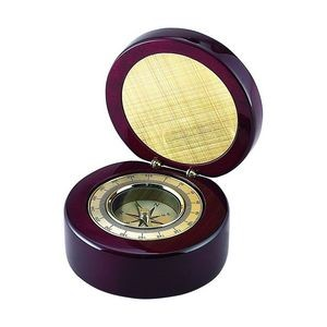 Round Wood Box With Compass In Piano Finish Round Wooden Box With Compass